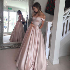 Dust Pink Satin Prom Dresses Ball Gowns Floor Length 2017 Bridesmaid Dresses