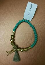 SILPADA CARIBBEAN COOL STRETCH TURQUOISE BRASS CRYSTAL  BRACELET NWT-HOT