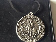"Templar Seal code dr70  Made From Fine English Pewter On 18"" Black Cord Necklace"