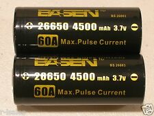 2 BASEN IMR 26650 HIGH DRAIN 40A / 60A 4500mAh RECHARGEABLE BATTERY 3.7v w/case