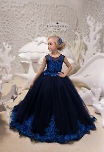 Children Girls Fancy Formal Elegant Blue Flower Pageant Party Dress Ball Gown ZG