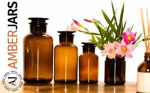 3 x 250ml Solid Amber Apothecary Lab Glass Jar  - herbs, teas science vase decor