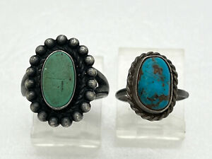 2 Navajo Sterling Silver Turquoise Rings Tooled Native American Sz 5.75 3.5 (MB)
