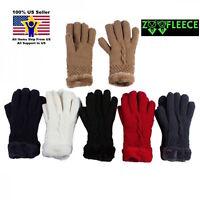 NEW Ladies Winter Elegant Warm Polar Fleece Lined Thick Knit Ski Gloves Soft