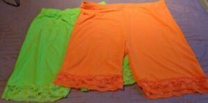 1 pair Lime green florescent 1 pair orange lace trim cycling shorts size 3XL