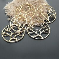 9pcs Antique Style Gold Plated Tone Alloy Round Tree Branch Pendant Charms 37mm