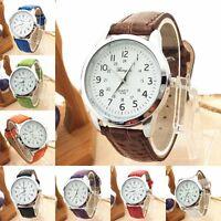 Heiß Mehrfarbig Herren Luxuriös Leder Armband Sport Quarz Analog Armbanduhr