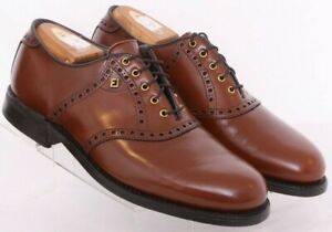 Foot Joy Brown Leather Golf Brogue Metal Spikes Oxford Shoes Men's US 9E