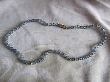 """Gold Tone & Blue Opaque Glass 5mm Bead Necklace of Unknown Vintage - 18"""" long"""