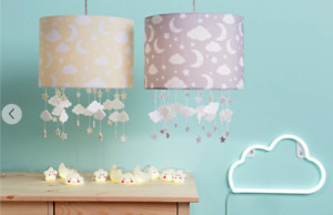 Baby Cloud & Stars Moon Light Shade Children's Grey Yellow Kids Room Warmth NEW
