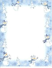 Snowy Snowman Blue Frost Snowflake Snowflakes Computer Letter Paper - 24 Sheets