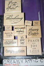 STAMPIN UP ALL YEAR CHEER I 12 RUBBER STAMPS THINKING PEACE LOVE CONGRATS THANKS