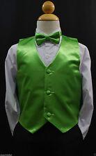 Children Teen LIME GREEN VEST + BOW TIE for Wedding Formal Suits Tuxedo Sz S-28