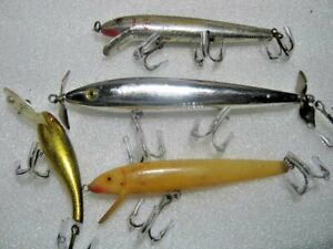 Cotton Cordell Red Fin Boy Howdy Wally Diver Topwater Lure Lures Lot Of Four