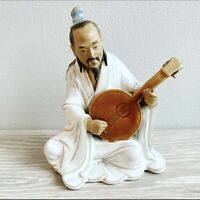 Vintage Oriental Chinese Mudman Figurine Playing Guitar Ceramic Clay Ornament 6""