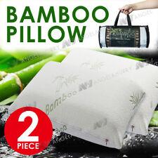 2x Bamboo Pillow Memory Foam Fabric Fibre Cover Vertebra Care standard 70 x 40cm