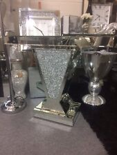 Sparkling silver crushed crystal mirror glass V console table, glitz side table