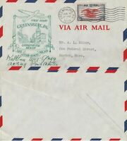 US 1939 AM 1002 FIRST FLIGHT FLOWN COVER GREENSBURG PA TO BOSTON MASS