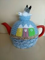Hand-knitted Beach Huts tea cosy. Fits medium teapot.