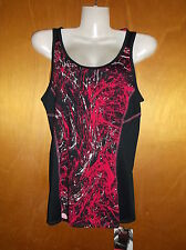 M&S Sleevless Racerback Panelled Sports Fitness Top UK6 Black/Pink Mix BNWT