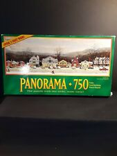 Norman Rockwell MB Panorama 750 Pc Puzzle Stockbridge Main St. At Christmas