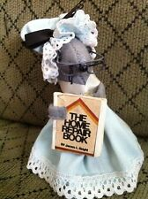 Vintage Felt Doll House Mouse  Figurines Ornaments Mother W/ Home Repair Book