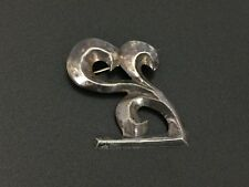 Vintage Native Indian Jewelry Sterling Silver Sandcast Waves Pin Brooch