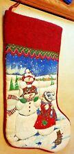 "Fabric Christmas Stocking Snowman Wool Top Tassel Ribbon 24"" Long"