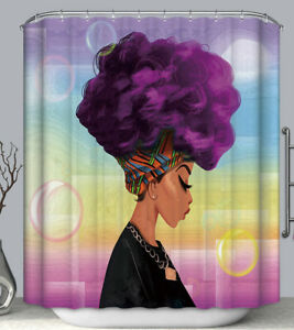 Purple Afro African Woman Bubbles Rainbow Fabric SHOWER CURTAIN 70x70 & Hooks