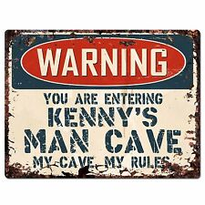 PP3439 WARNING ENTERING KENNY'S MAN CAVE Chic Sign Home Decor Funny Gift