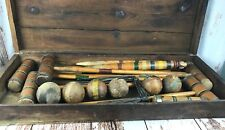Antique Croquet Set Dovetail Wood Box Balls Mallets Stakes Wickets Hoops Vtg