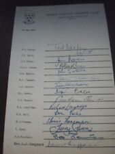 New listing 1962 Sussex County Cricket Team sheet and autographs