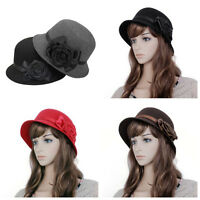 Fashion Elegant Women Lady Fedora Felt Cloche Flower Rose Bucket Hat Headwear