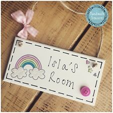 Rainbow Name Plaque Door Nursery Sign Gift Baby Play Room Personalised Girls