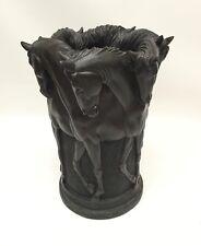 Sculpted Horses Wastebasket Western Decor Resin