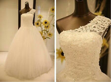 New white/ivory lace One Shoulder Wedding dress Bridal Gown stock6 8 10 12 14 16
