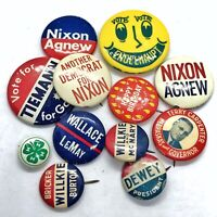 Authentic Collectible Vintage Pin Lot - Bulk DIY Pinback Political And Ads Old