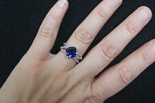 New 10K Blue Sapphire & 0.15ct Real Diamond Multi Row Ring White Gold