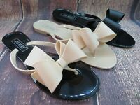 "Jelly Sandal ""SMYRNA"" Women's Flat Flip Flop Slip On Thong w/Big Bow by Ann More"