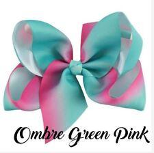 Jojo Siwa 5 Inch Mosaic Grosgrain Ribbon Hair Bow Clip - OMBRE GREEN PINK