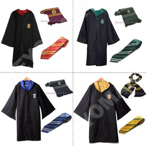 UK Harry Potter Gryffindor Ravenclaw Slytherin Hufflepuff Robe+Tie+Scarf Costume