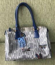 Furla Blue/Gray Artsy Butterflies & Dragonflies Medium Satchel Handbag EUC