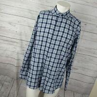 Ermenegildo Zegna XL Dress Shirt Mens Blue Brown Plaid Tartan Button Up