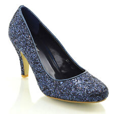 bb57793da962 Womens Glitter Shoes Bridal Slip On Low Heel Ladies Evening Party Courts  Size