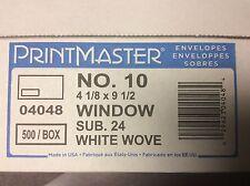 """PrintMaster Gummed Left Window #10 Envelope, 4-1/8"""" x 9-1/2"""", White, 500/Box"""