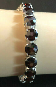 "Sterling Silver Bracelet Garnet Tennis 8mm 50 Carats 7"" 22g Rhodium JTV 925#1361"