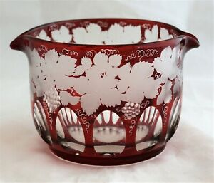 Antique 19th Century Engraved Vines & Grapes ruby Glass Wine Rinser