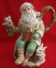 "Fitz&Floyd Classic Winter Wonderland Collection 2/Piece Santa Teapot 11""Tx10""W"