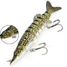 "5"" Multi-jointed 8-Segement Pike Muskie Fishing Lure Crankbait Hard Bait Hook"