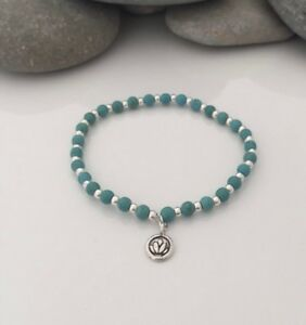 Ladies Turquoise & Sterling Silver Beaded Bracelet With Lotus Flower Charm